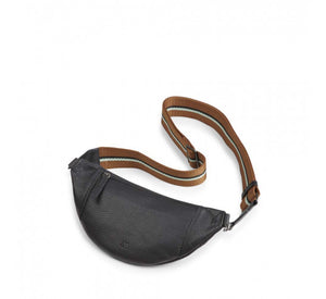 Elinor black crossbody bumbag with mint stripe strap