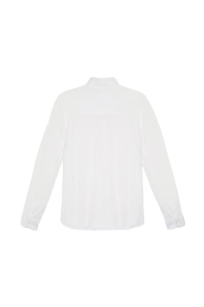 Jersey button down white cotton shirt