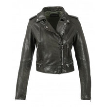 Load image into Gallery viewer, Crop khaki-grey leather biker jacket