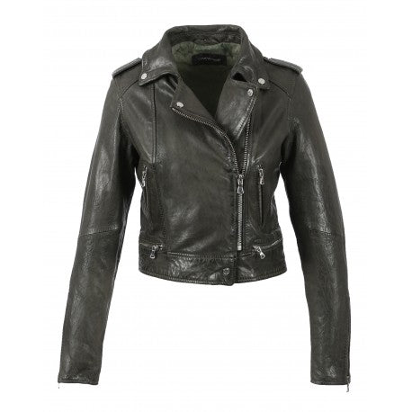 Crop khaki-grey leather biker jacket