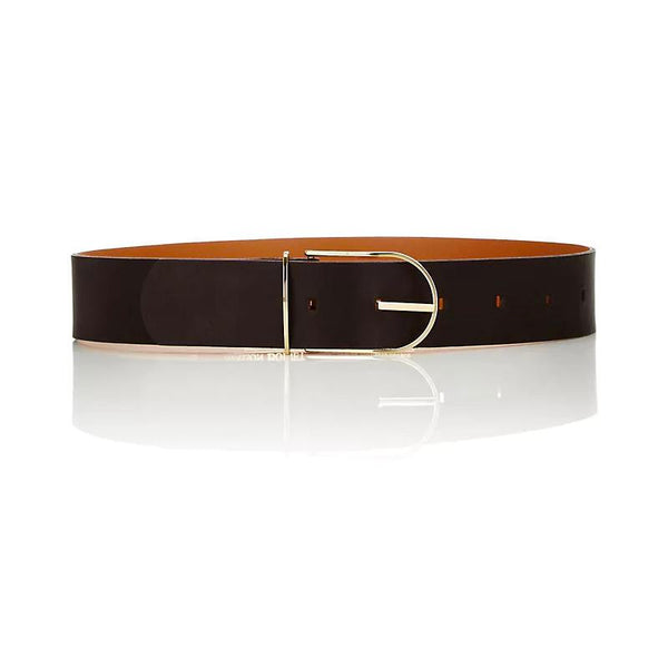 Maison Boinet Black Leather Belt with Golden Buckle
