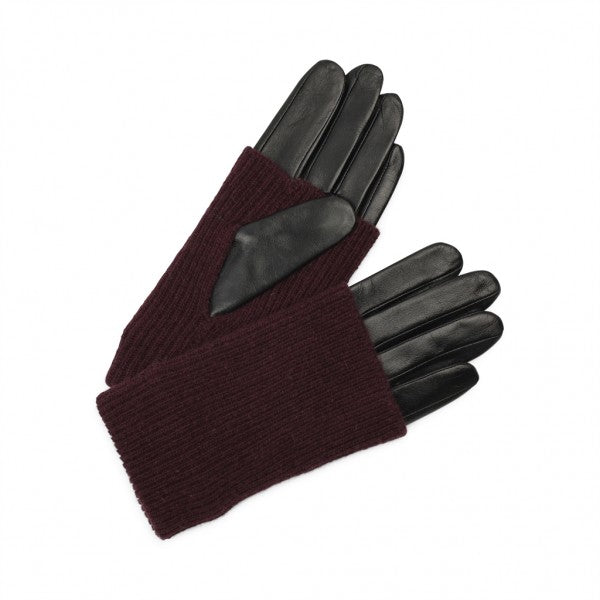 Leather Markberg Gloves in Black and Burgundy