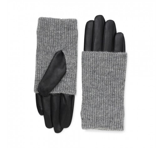 Leather Markberg Gloves in Black and Grey