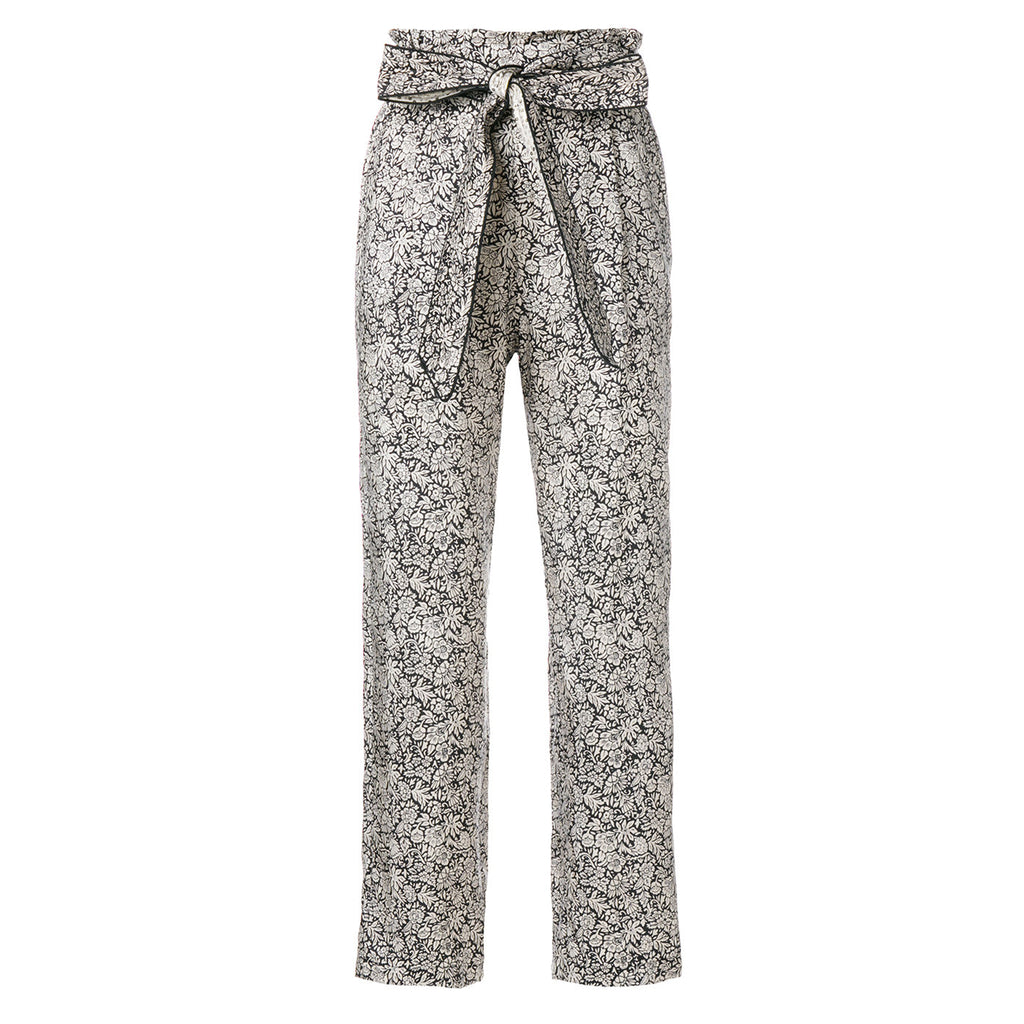 Masscob Floral Print Silk Trousers with Belt in Silver, White and Navy