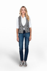 Melanie Press wool herringbone grey beige waistcoat