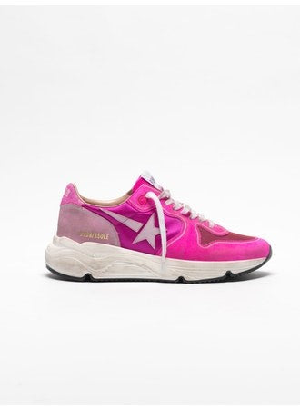 Running Sole Fuxia suede pink glitter sneakers