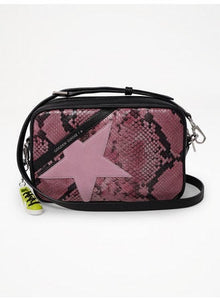 Star crossbody bag in pink python effect