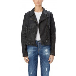 Leather-look biker jacket made of Italian premium coated denim. Subtle tailoring around the waist.