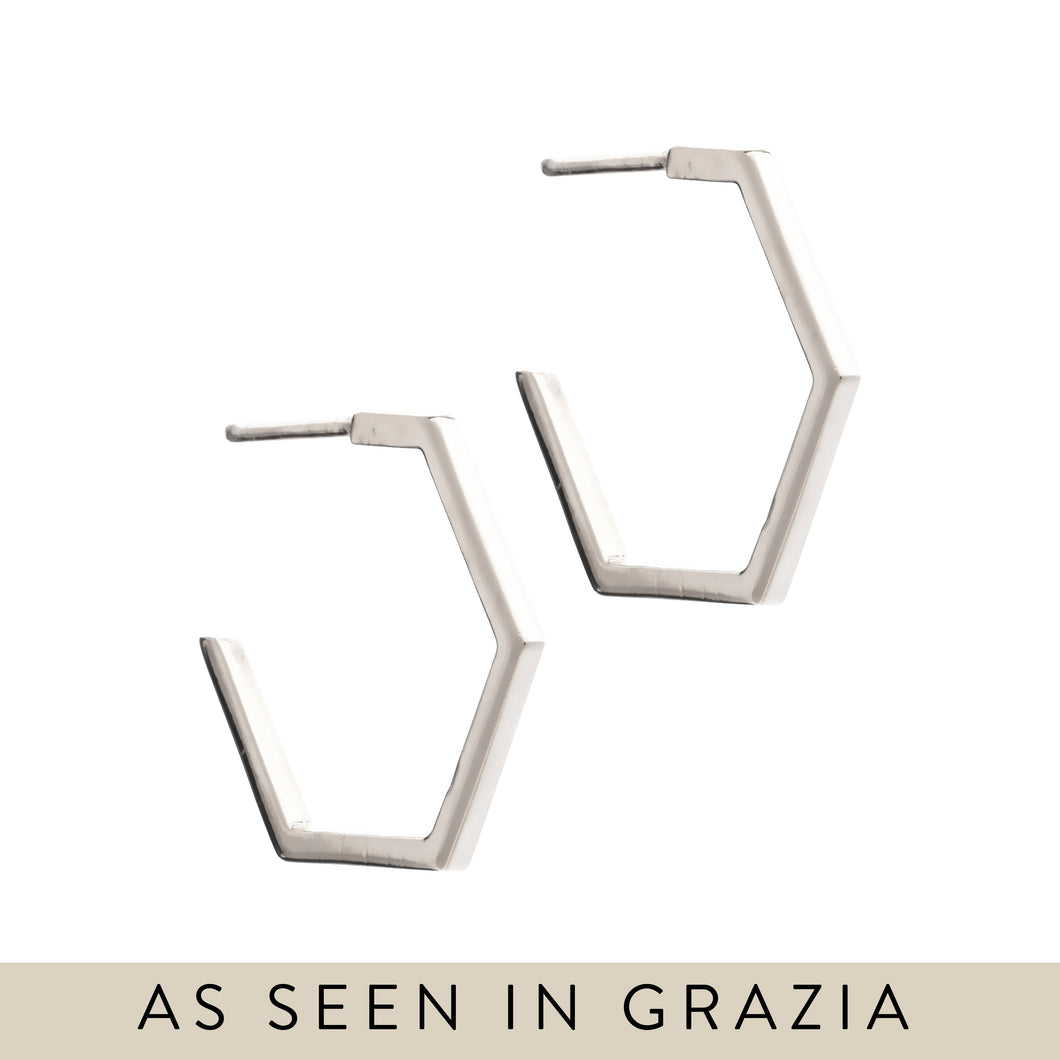 Rachel Jackson Medium Serenity Hoops in Silver