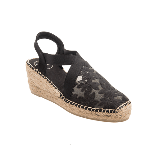 Lace Espadrille in Black by Toni Pons