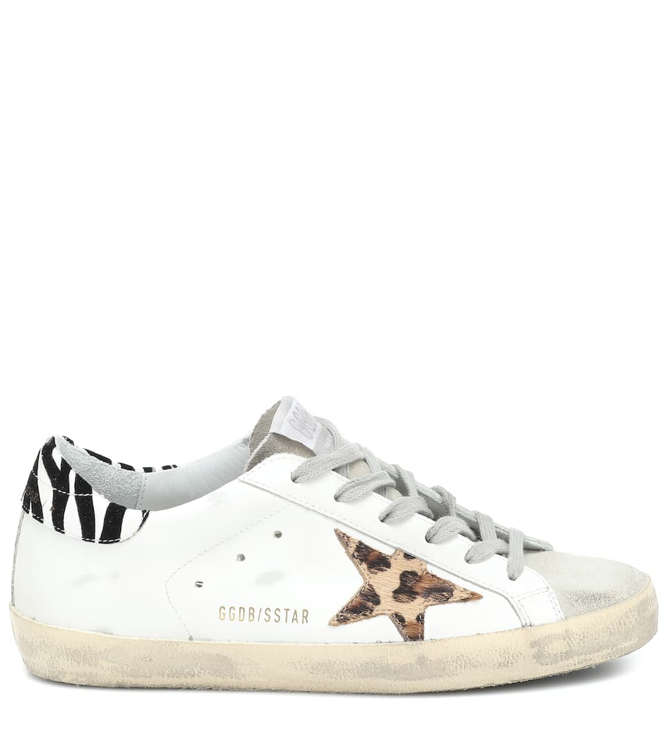 Superstar white leather animal print sneaker