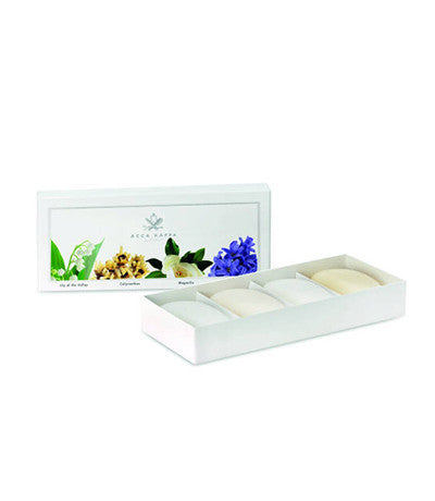 Image of Acca Kappa's Soap Set containing 3.5oz soaps in Calycanthus, Magnolia, Lily of the Valley and Hyacinth fragrances