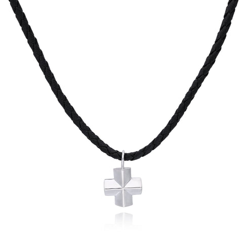 Moss Silver Cross Pendant with Rubber