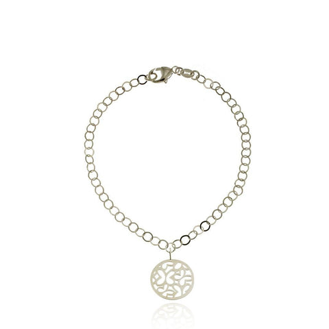 Silver Bracelet with Circular Pendant