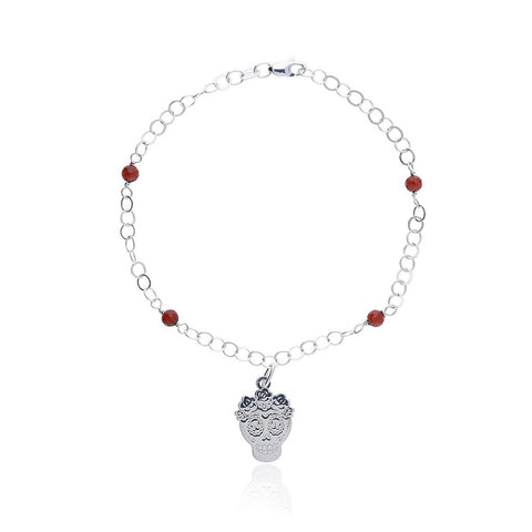 Sterling Silver Mexican Catrina Bracelet with Garnet