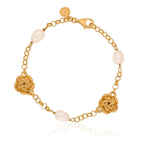 Vermeil Silver Bouquet Bracelet with Pearls