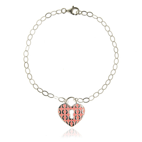Sterling Silver Bracelet Heart-shaped Padlock with Pink Enamel