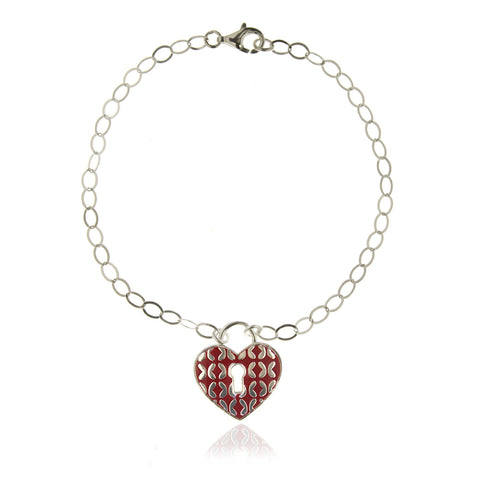 Sterling Silver Bracelet Heart-shaped Padlock with Red Enamel