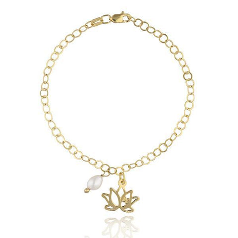 Bracelet Zen Lotus Flower in Sterling Silver