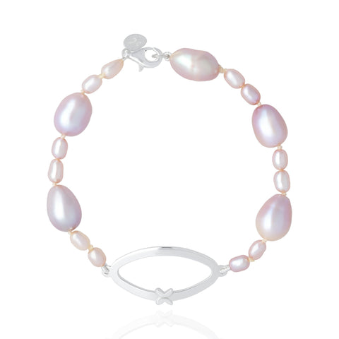 Pink Pearls Bracelet with Sterling Silver Butterfly Link