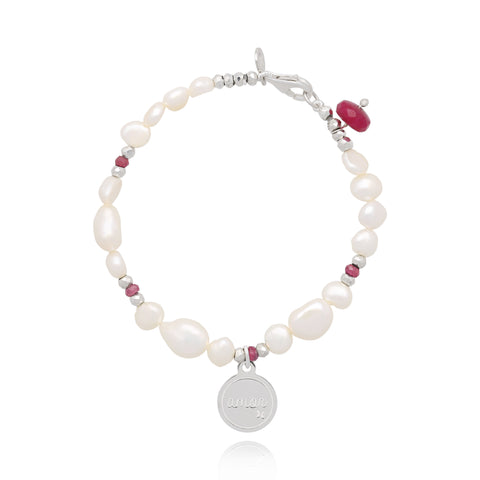 "Pearl and Ruby Bracelet with ""Amor"" Charm (Silver)"
