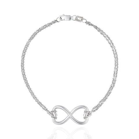 Endless Heart Sterling Silver Bracelet with Chain