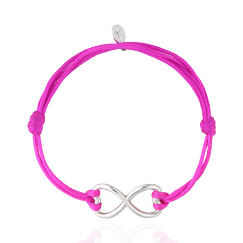 Endless Heart Sterling Silver Bracelet With Pink Silk Cord