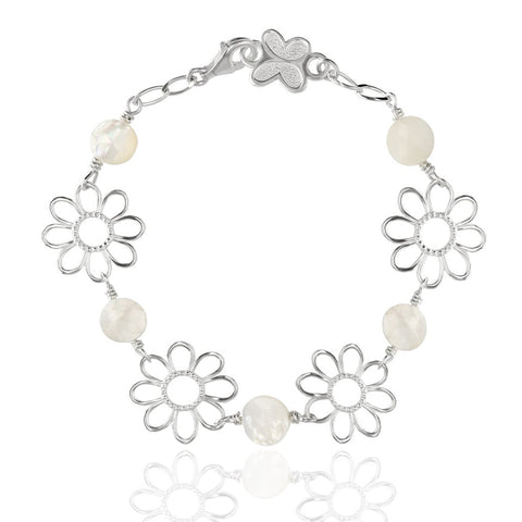 Sterling Silver Flora Bracelet with Mother of Pearl