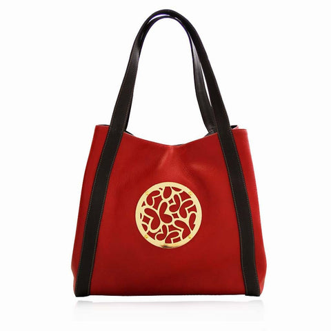 Red Leather Tote Bag with Vermeil Hardware