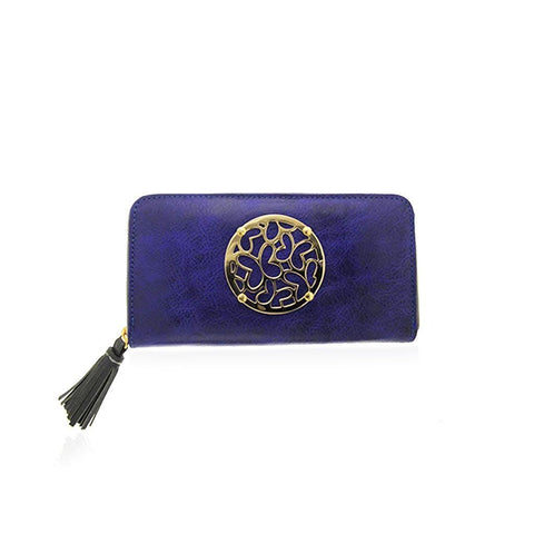 Blue Leather Zip around Wallet with Vermeil Hardware