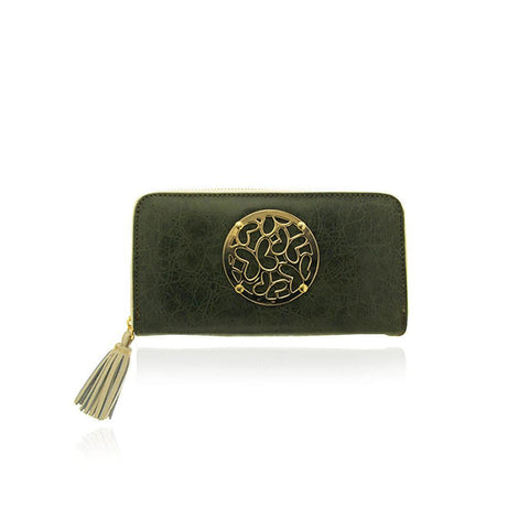 Green Leather Zip around Wallet with Vermeil Hardware