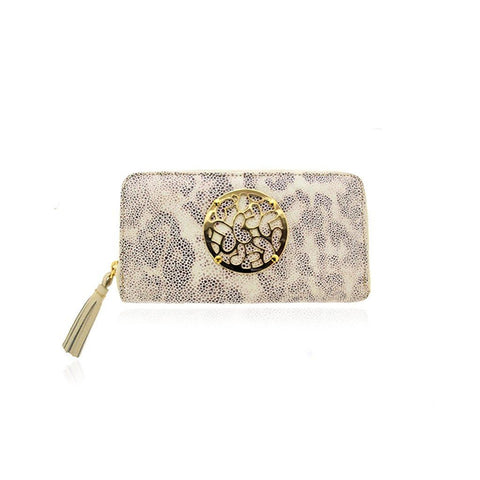 Ivory Leather Zip around Wallet with Vermeil Hardware