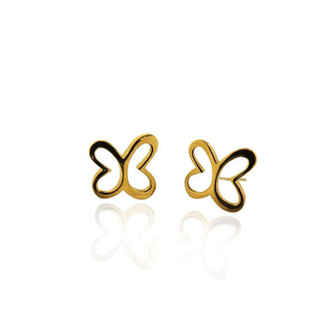 Vermeil Silver Butterfly Stud Earrings