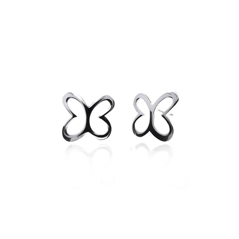 Large Silver Butterfly Stud Earrings
