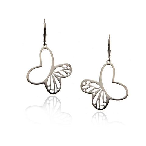 Large Dangly Silver Monarch Earrings