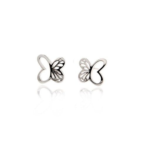 Silver Monarch Stud Earrings