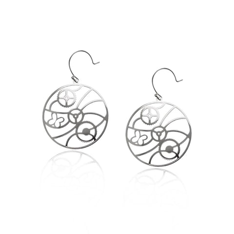 Large Gear Earrings With Two Circles Inside