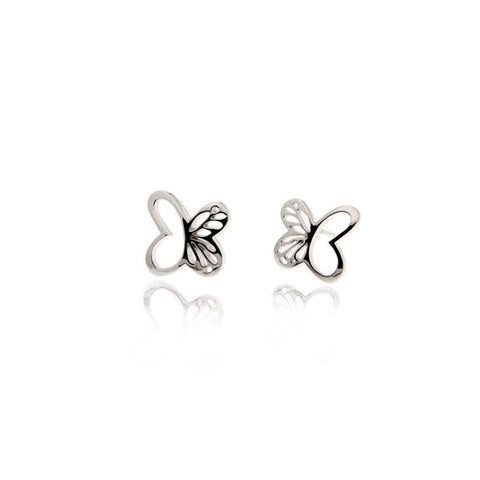 Silver Mini Monarch Stud Earrings