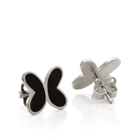 Butterfly Earrings with Black Enamel Sterling Silver