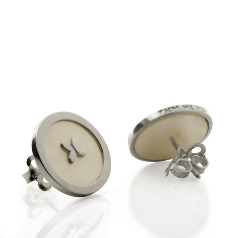 Mother Pearl Earrings with Butterfly Sterling Silver