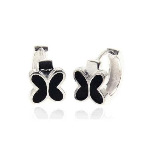 Sterling Silver Butterfly Huggies with Black Enamel