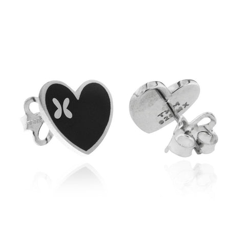 Sterling Silver Heart Studs with Black Enamel