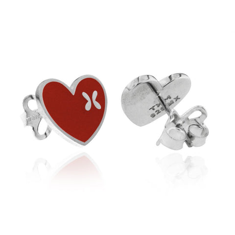 Sterling Silver Heart Studs with Red Enamel