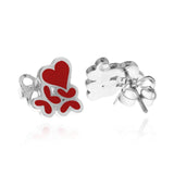 Sterling Silver Heart with Butterfly Studs with Red Enamel