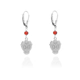 Sterling Silver Mexican Catrina Earrings with Garnet