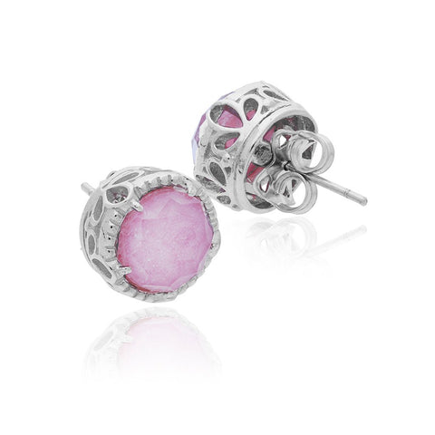 Sterling Silver Opera Studs with Rhodonite
