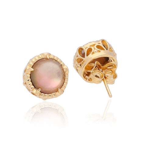 Vermeil Silver Opera Studs with Chocolate Mother Of Pearl