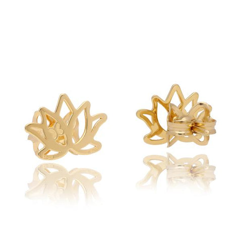 Zen Lotus Flower in Sterling Silver Earrings with Vermeil