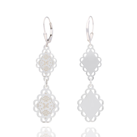 "Sterling silver ""Papel Picado"" Mexicanized Earrings"