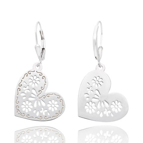 Sterling Silver Mexicanized Heart Earring